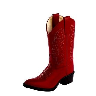Old West Cowboy Boots Boys Girls Kids J Toe PVC Goodyear Red 8116
