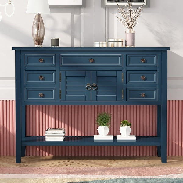 Modern Console Table Sofa Table with 7 Drawers,1 Cabinet and 1 Shelf. Opens flyout.