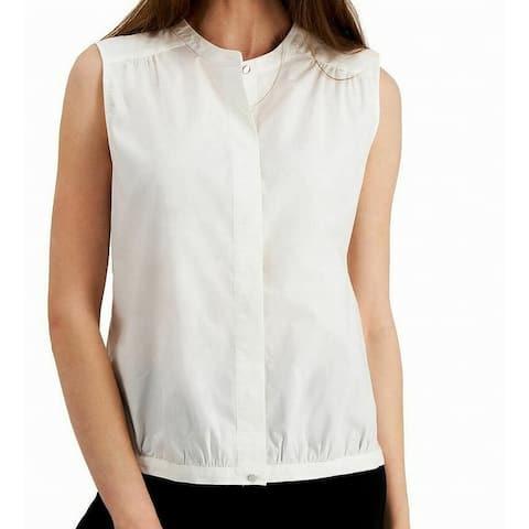 Alfani Womens Top True Medium Crewneck Mandarin-Collar