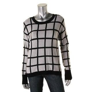 Aqua Womens Pullover Sweater Cashmere Window Pane
