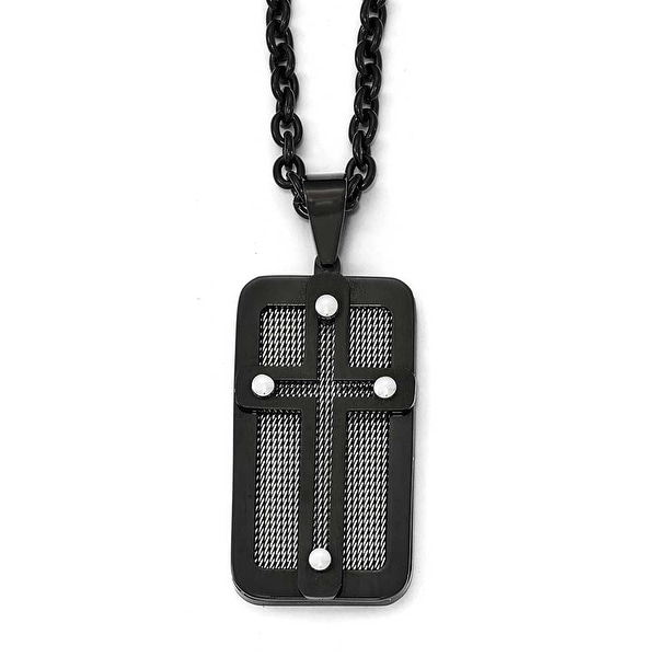 Chisel Stainless Steel Polished Black IP-Plated with Wire Inlay Cross Necklace - 24.5 in