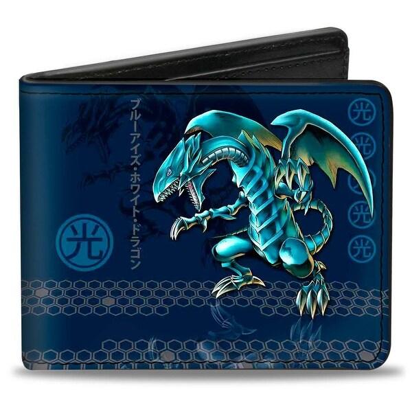 Blue Eyes White Dragon Pose Light Kanji + Blue Eyes White Dragon Honeycomb Bi-Fold Wallet - One Size Fits most