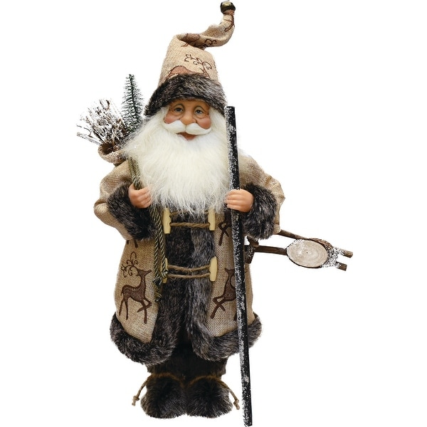 "16.5"" Country Rustic Santa Claus Carrying a Wooden Sled and Sack of Gifts"