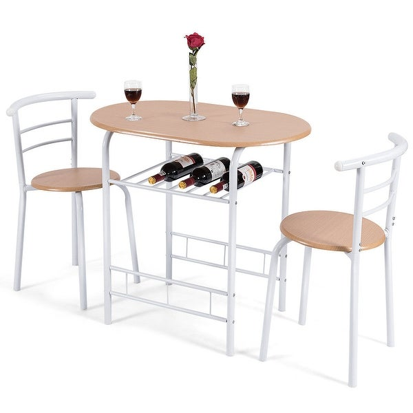 3 Piece Bar Table Set With 2 Stools Bistro Pub Kitchen: Shop Costway 3 Piece Dining Set Table 2 Chairs Bistro Pub