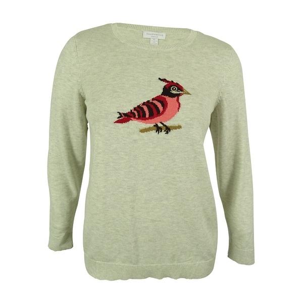 Charter Club Women's Bird Intarsia Crewneck Sweater