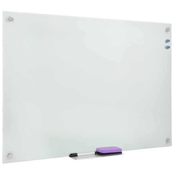 Mount-It! Magnetic Glass Dry Erase Board | Floating Wall Mounted Frameless Frosted Whiteboard with Accessory Tray | 36x24 Inches