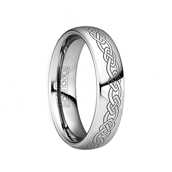 LONGINUS Engraved Celtic Link Polished Tungsten Comfort Fit Ring by Crown Ring - 6mm