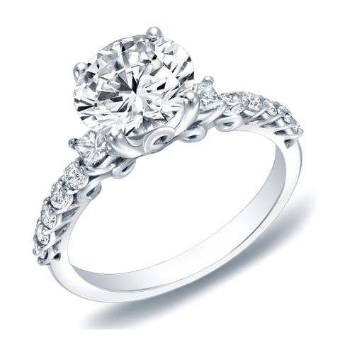 Auriya 14k Gold Vintage 3-Stone Diamond Engagement Ring 1 2/5ctw Certified