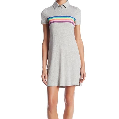 Love Fire Gray Womens Size Small S Striped Colorblocked Polo Dress