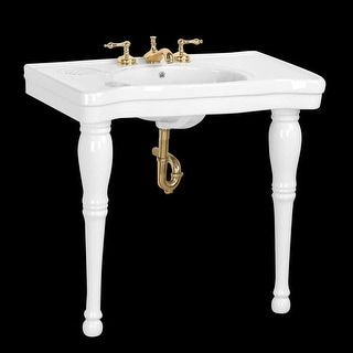 White Spindle Leg Grade A Vitreous China Console Sink | Renovator's Supply