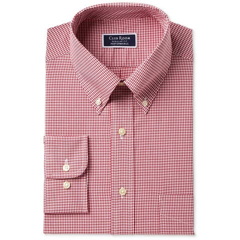 Club Room Mens Performance Button Up Dress Shirt