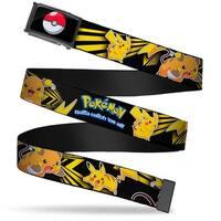 Poke Ball Fcg  Chrome Pokemon Electric Raichu & Pikachu Poses Black Web Belt