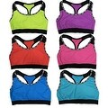 "Women 6 Pack Neon Color ""Sweet"" Edge Matching Non-Padded Yoga Sports Bras - Thumbnail 0"