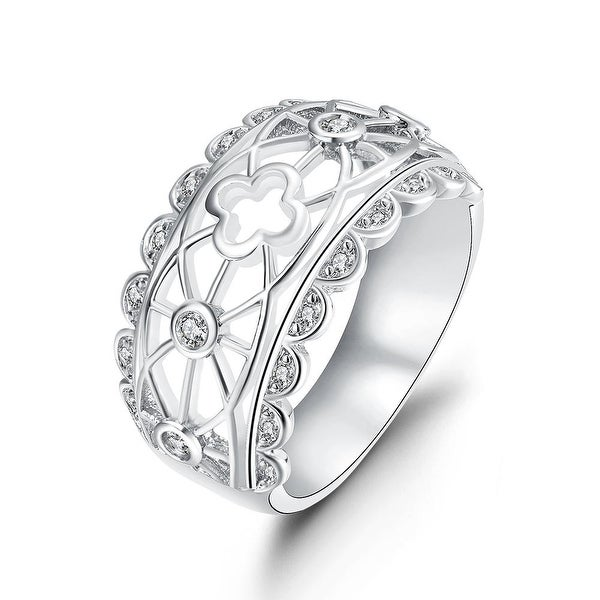 Laser Cut Matrix White Gold Design Ring