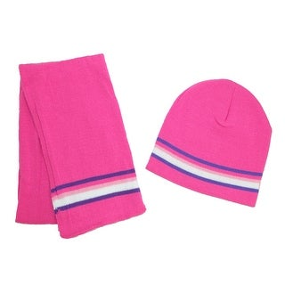 CTM® Girls' 2-4 Striped Hat and Scarf Set