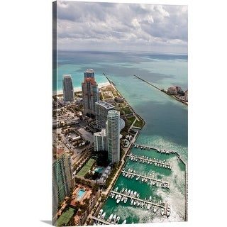 """Aerial view of city at the waterfront, Miami, Miami-Dade County, Florida"" Canvas Wall Art"