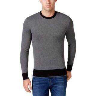 Michael Kors Mens Crewneck Sweater Ribbed Knit Trim Checkered