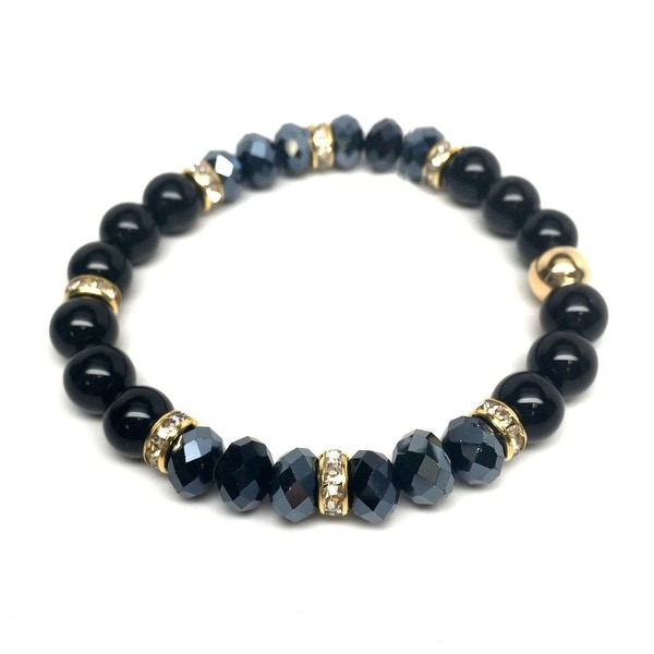 Black Onyx & Crystal 'Posh' stretch bracelet 14k Over Sterling Silver