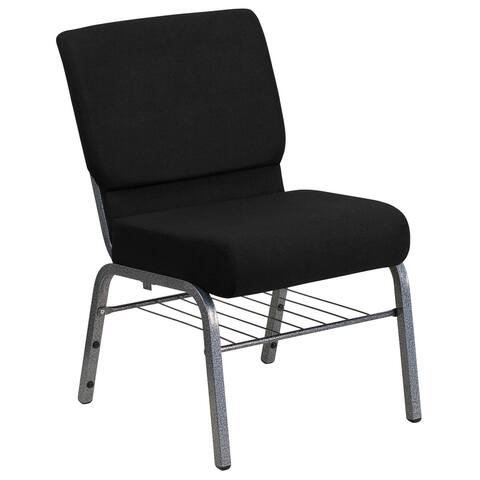"21""W Church Chair with Book Rack - Silver Vein Frame"