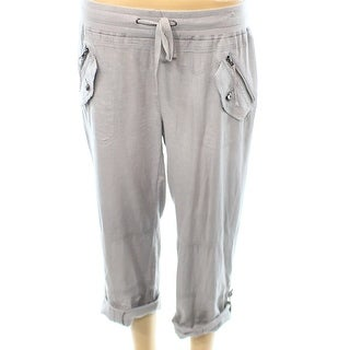 INC NEW Gray Women's Size 6 Zip Pocket Cuffed Casual Pull On Pants