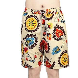 Unique Bargains Men Beach Shorts Pockets Board Surfing Running Swimming Swim Trunks Colorful W28