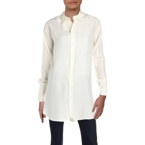 Polo Ralph Lauren Womens Button-Down Top Silk Oversized - 12