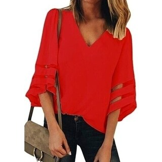 Link to Bell Sleeve Shirt Loose Tops Blouse Similar Items in Women's Plus-Size Clothing