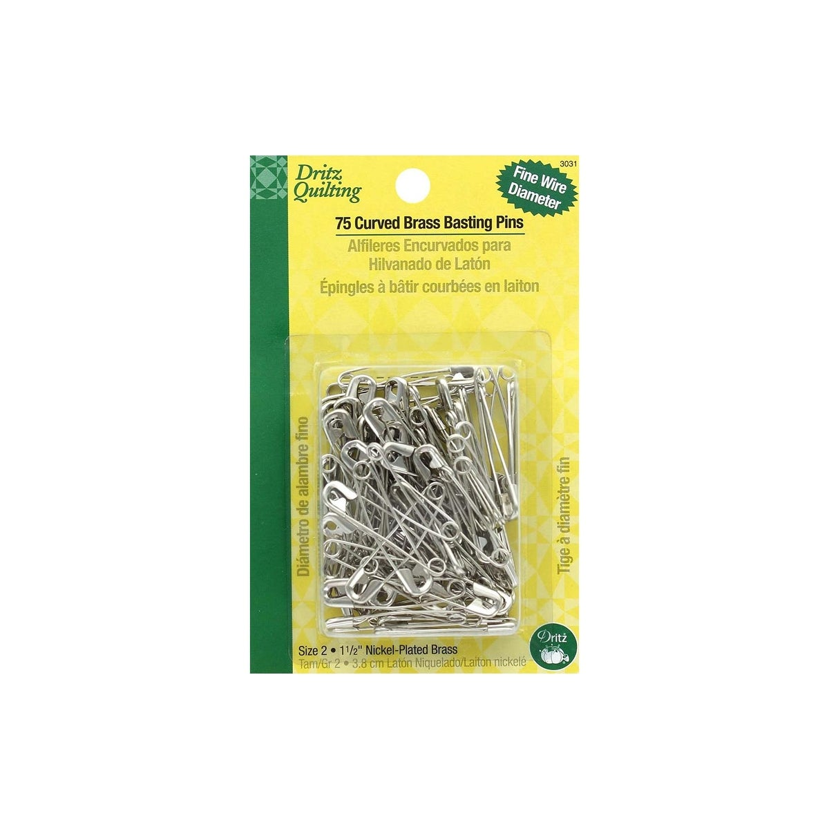 90//Pkg Dritz Quilting Curved Safety Pin Assortment-90//Pkg