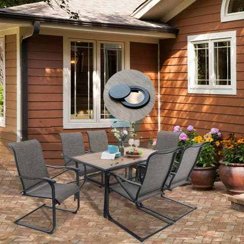 "PHI VILLA 7-Piece Patio Dining Set Including 60"" x 37"" Large Wooden Top Table and 6 Sling Motion Chairs"