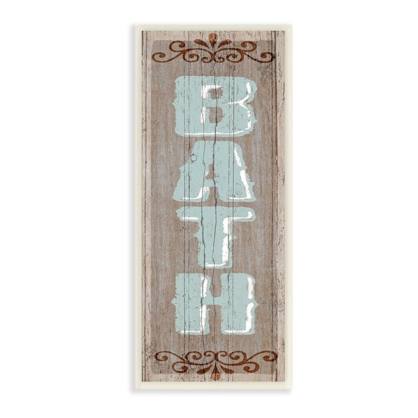 Stupell Industries Rustic Charm Bath Sign Blue Brown Family Bathroom Wood Wall Art,7x17. Opens flyout.