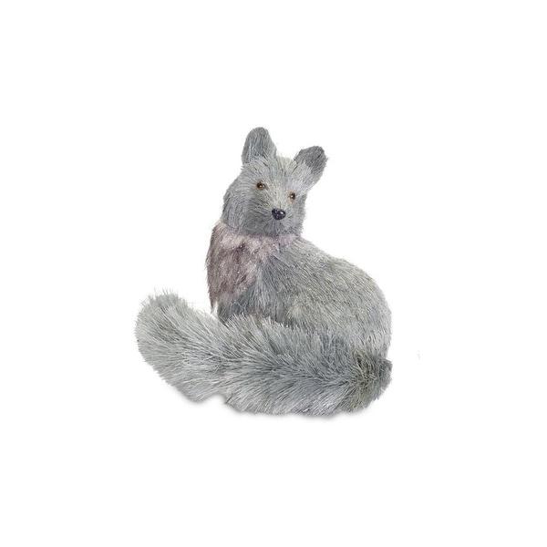"8.75"" Winter Light Blue Gray Glittered Sisal Silver Fox Christmas Table Top Decoration"