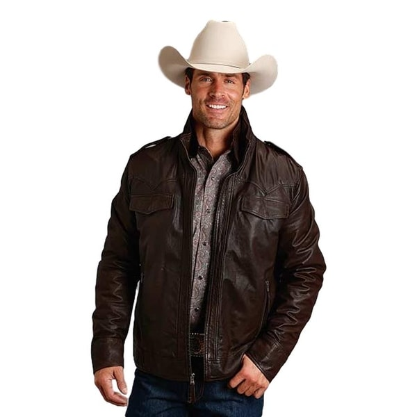 Stetson Western Jacket Mens Hooded Zipper Brown