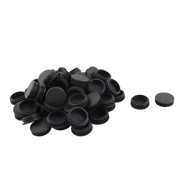 Table Chair Plastic Round Tube Insert Tubing Cap Pipe Cover Black 48mm Dia 70pcs