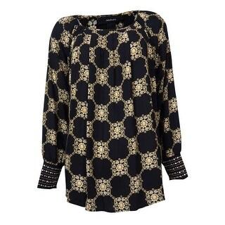 Alfani Women's Embellished Sleeves Diamond Print Top - Black