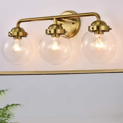 3-Light Antique Brass Vanity Light with Globe Clear Glass Shades - Antique Brass - Antique Brass