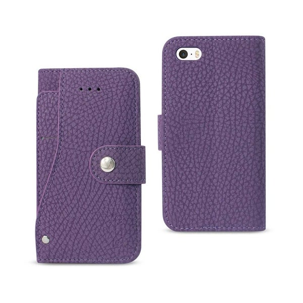 REIKO IPHONE SE WALLET CASE WITH SLIDE OUT POCKET AND FOLD STAND IN PURPLE