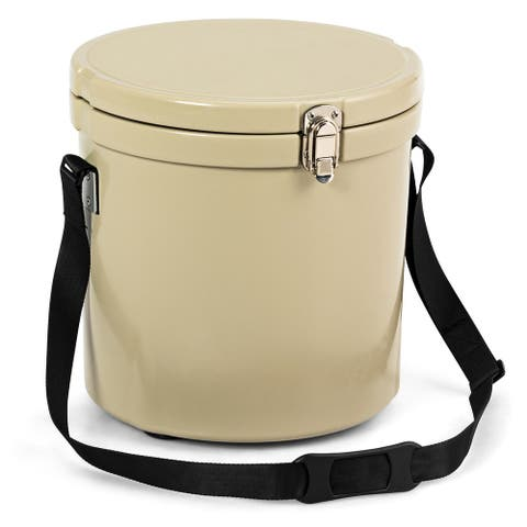 Costway 13 Quart Cooler Portable Ice Chest with Strap 18 Cans Ice Box for Camping Khaki