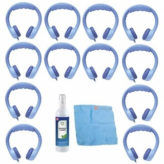 Hamilton Buhl Flex-Phones, Foam Kids Headphones - Blue (12 PK) Bundle