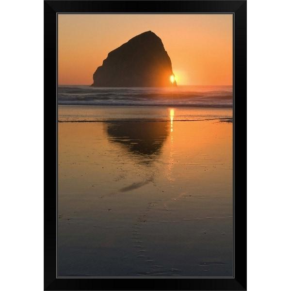 """USA, Oregon, beach with stack rock"" Black Framed Print"