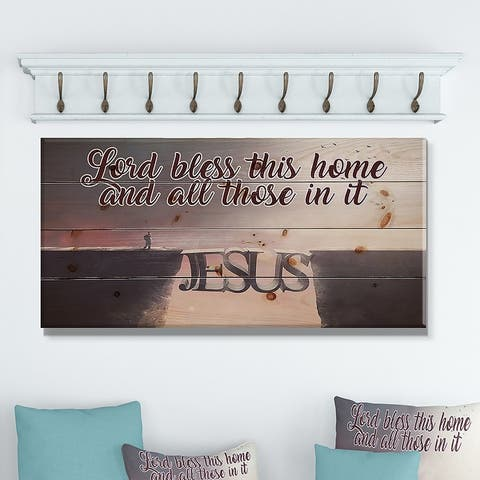 Designart 'Lord Bless this house and all those in it. Jesus' Textual Entrance Art on Wood Wall Art - Grey