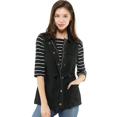 Unique BargainsWomen Functional Pockets Drawstring Waist Cargo Vest