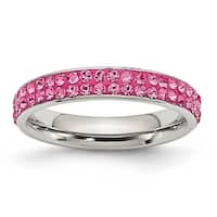 Chisel Stainless Steel 4mm Polished Pink Crystal Ring