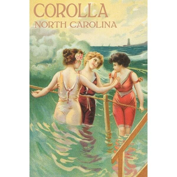 Corolla NC Ladies In Swim Attire - Vintage Poster (Art Print - Multiple Sizes)