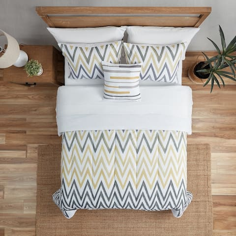 Large Grey Chevron Comforter Set