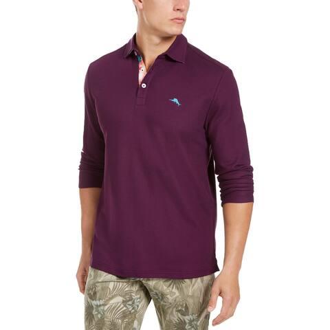 Tommy Bahama Mens Polo Shirt Textured Embroidered Logo - High Seas - XL