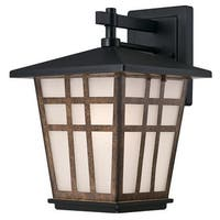 "Westinghouse 6358200 Rollins 1-Light 13"" Tall Outdoor Wall Sconce with Frosted Glass Shade - matte black / barnwood - n/a"