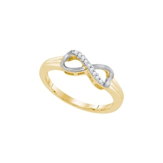 Sterling Silver Womens Round Natural Diamond Infinity Fashion Ring 1/20 Cttw - White