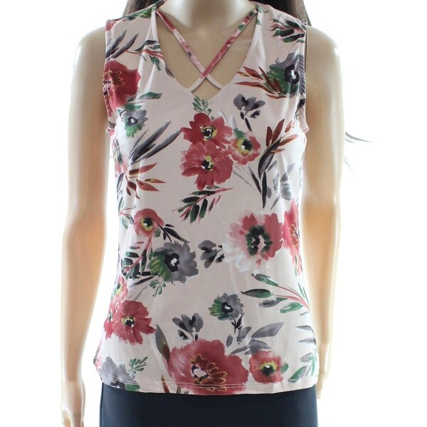 b2489901554 Shop Polly   Esther NEW Pink Women s Size XL Tank Cami Floral Velvet Blouse  - Free Shipping On Orders Over  45 - Overstock - 20370680