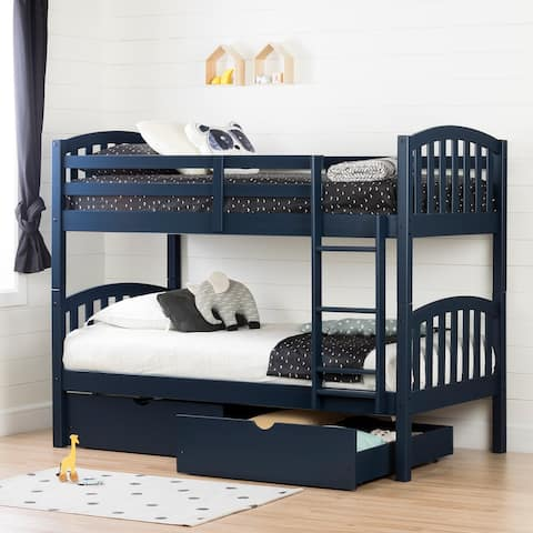 South Shore Asten Bunk Beds and Rolling Drawers Set