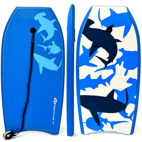 Goplus 41''/37''/33'' Lightweight Super Bodyboard Surfing W/Leash EPS